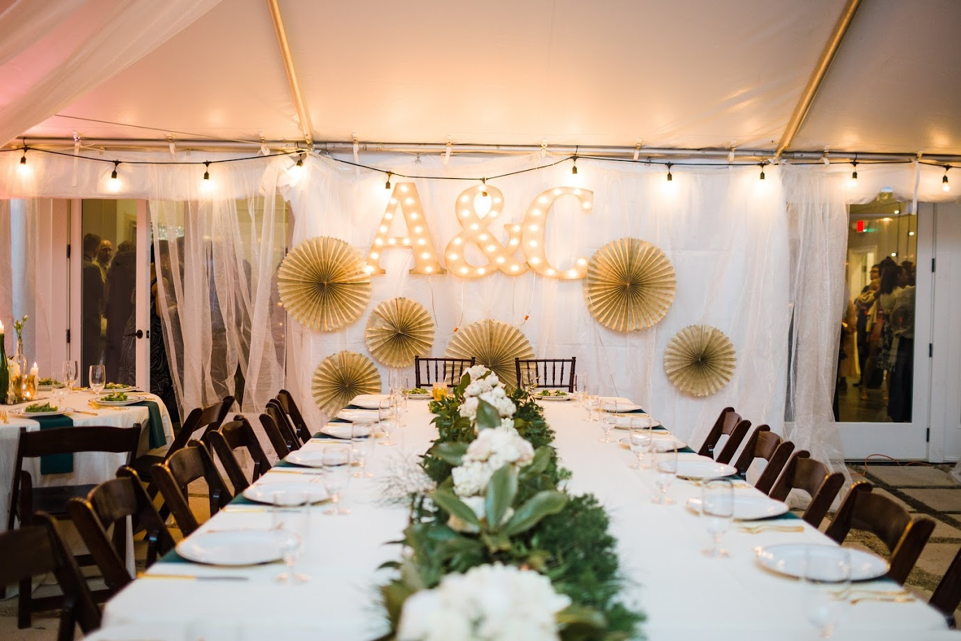 Photo by Forage and Film  40 x 40 white top tent with marquis to ballroom doors and tent liner from Grand Rental Station