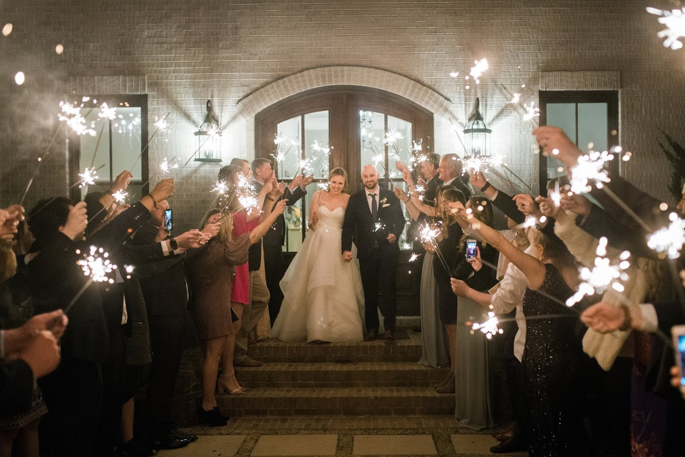 Sparklers out the front doors  Photo by Casey Rose