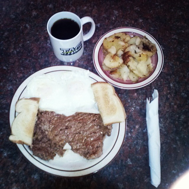 8 oz Rib-eye with 2 eggs, fried potatoes, and toast.  10.99  Served every morning.