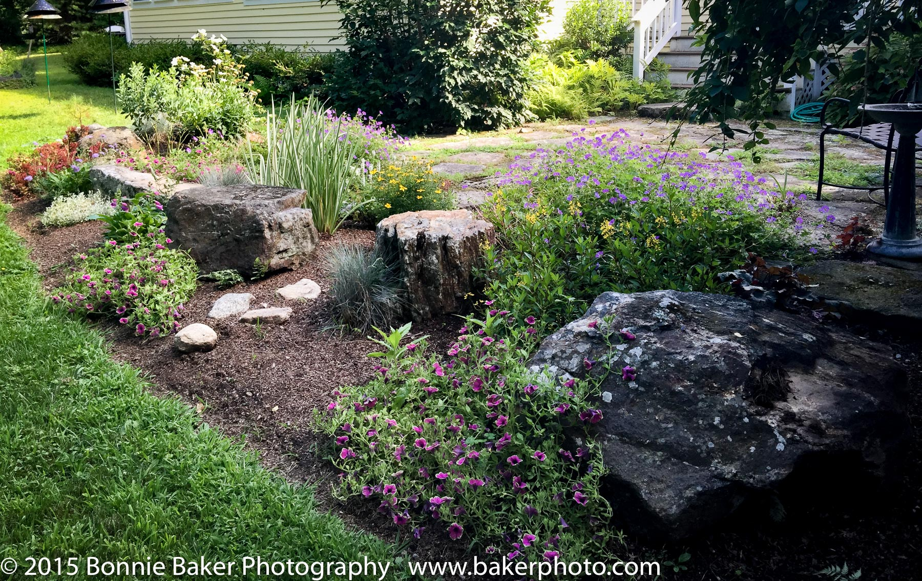 Finished patio border rock garden with perennials.