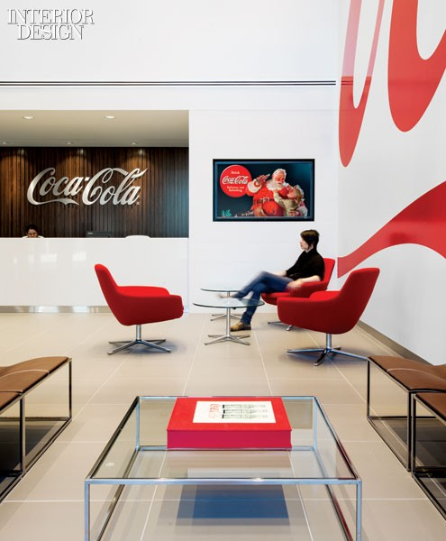 Chairs by Pearson Lloyd gather in the reception area of the Canadian headquarters for the Coca-Cola Company.