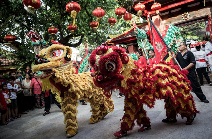 A group of dancers perform a Chinese traditional lion dance during the 'Ngelawang' Ritual at Dharmayana Chinese Temple on Jan. 30, 2014 in Kuta, Indonesia. (Photo credit: Agung Parameswara/Getty Images)