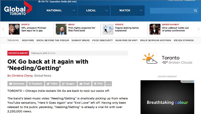 Ok-Go back at it again with 'Needing Getting'   http://globalnews.ca/news/208090/ok-go-back-at-it-again-with-needinggetting/#ixzz1ldap1RSN