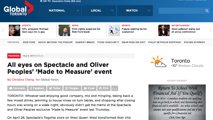 All eyes on Spectacle and Oliver Peoples 'Made to Measure' event   http://globalnews.ca/news/242801/all-eyes-on-spectacle-and-oliver-peoples-made-to-measure-event/