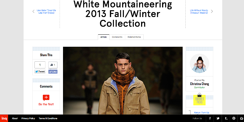 White Mountaineering 2013 FW collection  http://inqmind.co/2013/01/white-mountaineering-2013-fallwinter-collection/