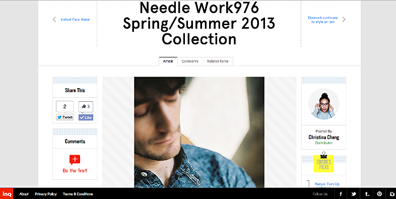 Needle Work976 Spring/Summe 2013 Collection  http://inqmind.co/2013/03/needle-work976-springsummer-2013-collection/