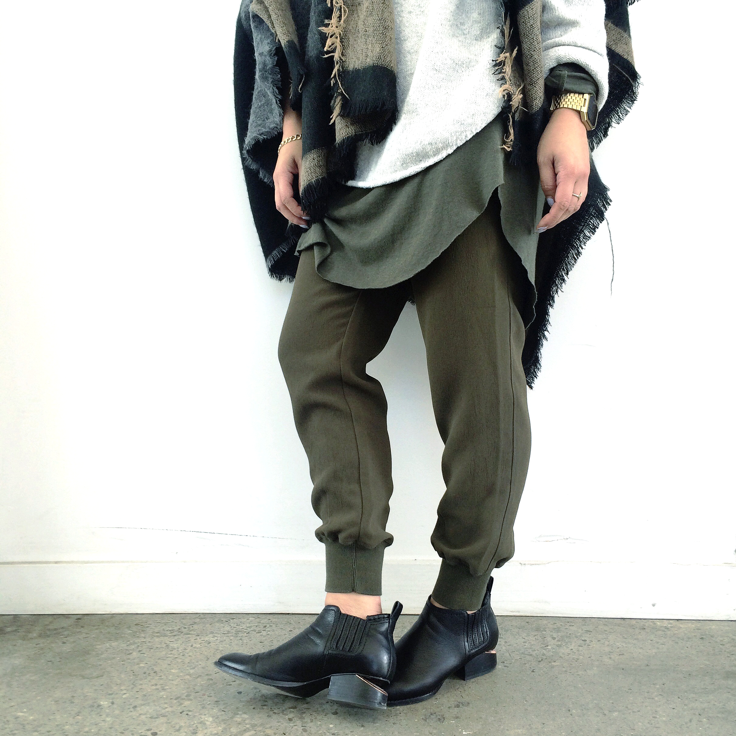 Scarf: Zara | Crewneck Sweater: Oak + Fort (men's) | Long-sleeve tee: Oak + Fort (men's) | Trousers: Aritzia | Boots: Alexander Wang