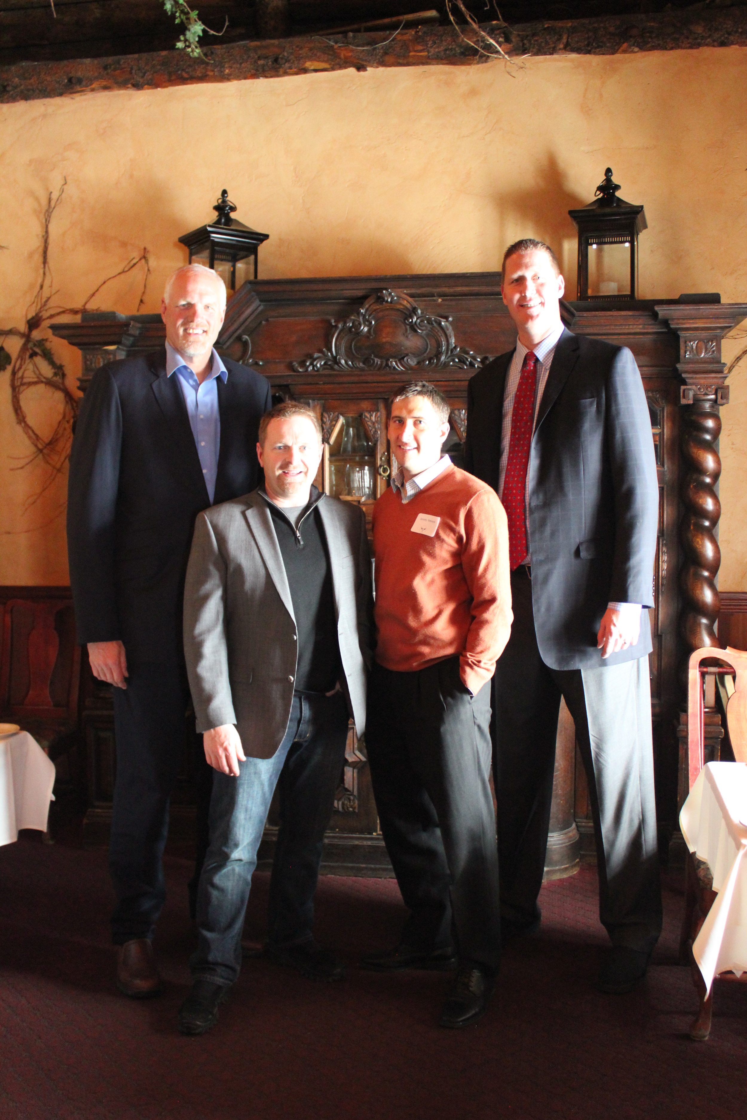 Michael Jeppesen and Jeremy Jensen, flanked by Mark Eaton and Sean  Bradley.