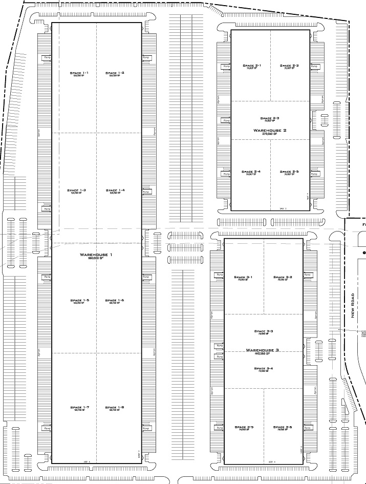 Plan: - Building 1: 990,000 SF   Docks: 193                     Grade Level Docks: 8Building 2: 357,080 SF   Docks: 64                       Grade Level Docks: 8Building 3: 445,560 SF     Docks: 82                         Grade Level Docks: 6
