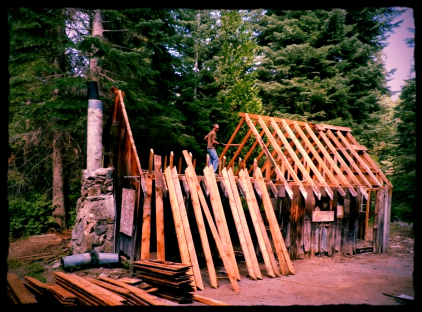 Deconstruction of early 1900's cabin in Shaver, CA. Lumber grown, felled, andmilled in Shaver, CA.