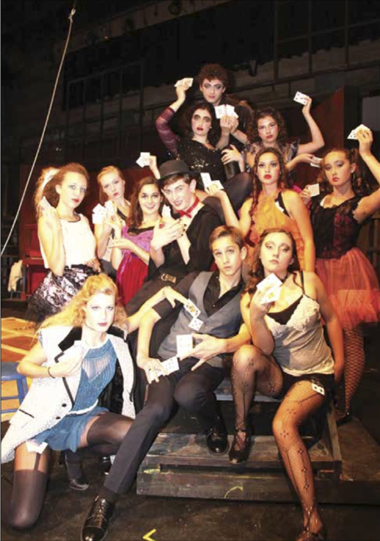 The cast of the SBHS production of Cabaret includes Jordan Lemmond, David Childs, Mary Cusimano, Aaron Linker, Sable Layman (a SBHS incoming sophomore and Otto Layman's talented daughter), McKenna Mender, Carly Cummings, Jessica Barry, Damien Gilbert, Cameron Welles, Jason Gonzalez Larsen, Sofia Ross, Luana Psaros, Will Geare, Courtney Morse, Allison Lewis Towbes, Grant Bower, Libby Sestak, Rio Salazar, and Hailey Turner (most but not all are in this photo)