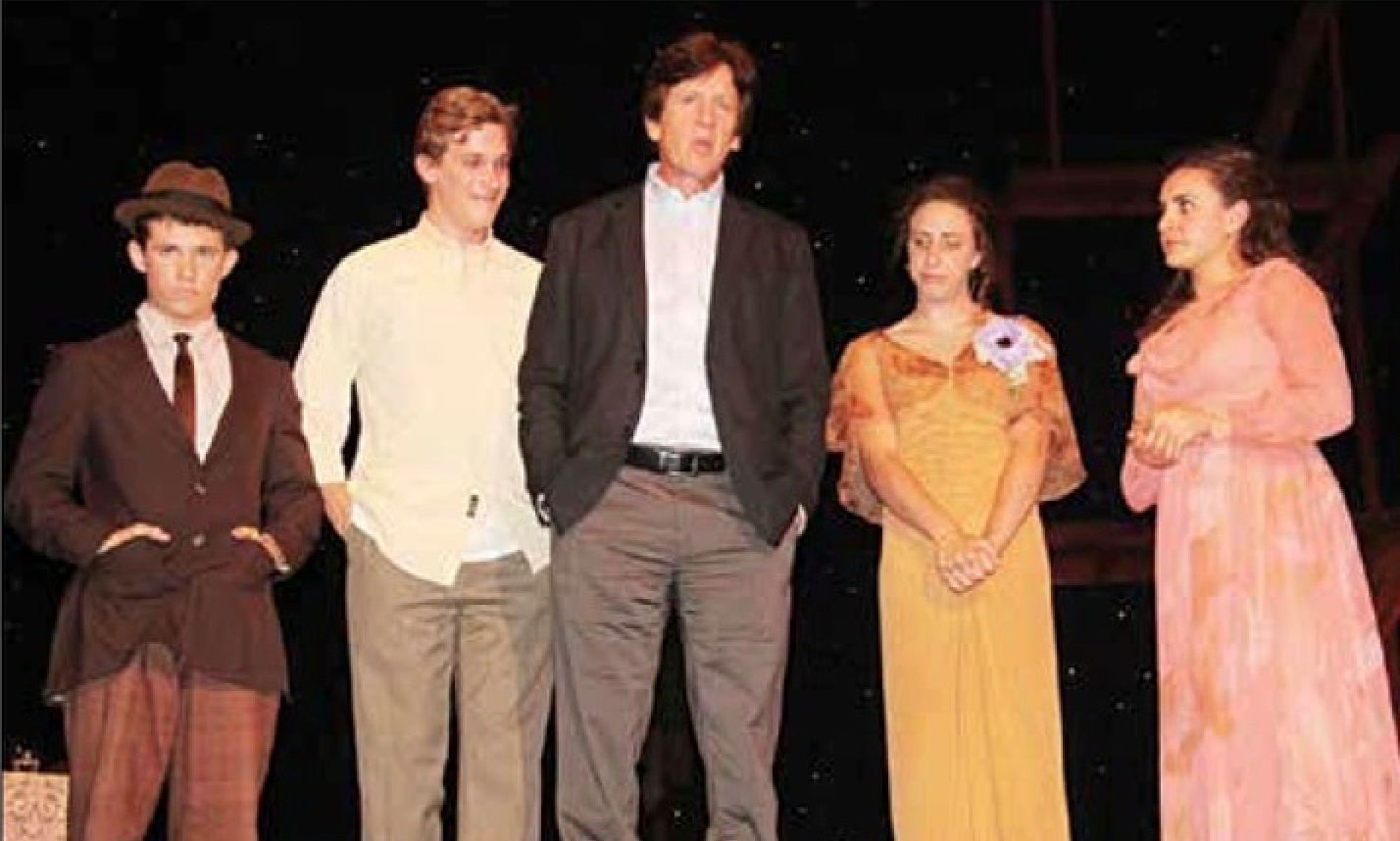 (from left) Jordan Lemmond, Clayton Barry, Otto Layman, Emma Robins and Elli Harb express real sadness on stage at the culmination of an intense four-year relationship that encompassed the high-schoolers' formative teen-age years and some of the highest points in Otto's 17-year run at SBHS. The four seniors were featured in The Glass Menagerie, the last performance of the school year, but there were twenty-five graduating Performing Arts seniors in all, most of whom were last seen singing, danc-ing, and cutting up on stage in the school's most successful and well-attended production ever: Monty Python's Spamalot.