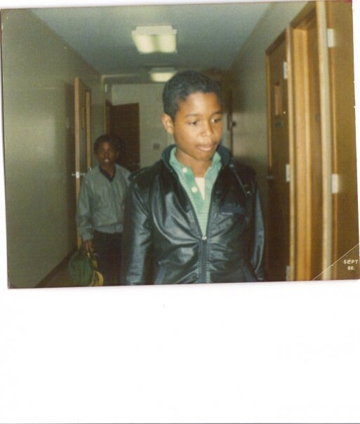 My brother Phillip and I in our pleather jackets