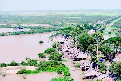 Cambodian River overflowing its banks