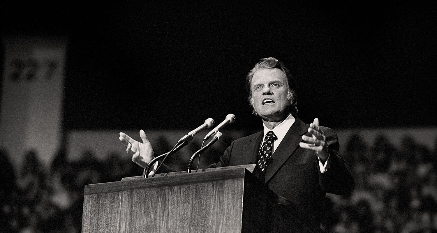 Pastor Billy Graham, one of the early 20th century prosperity preachers for capitalism.