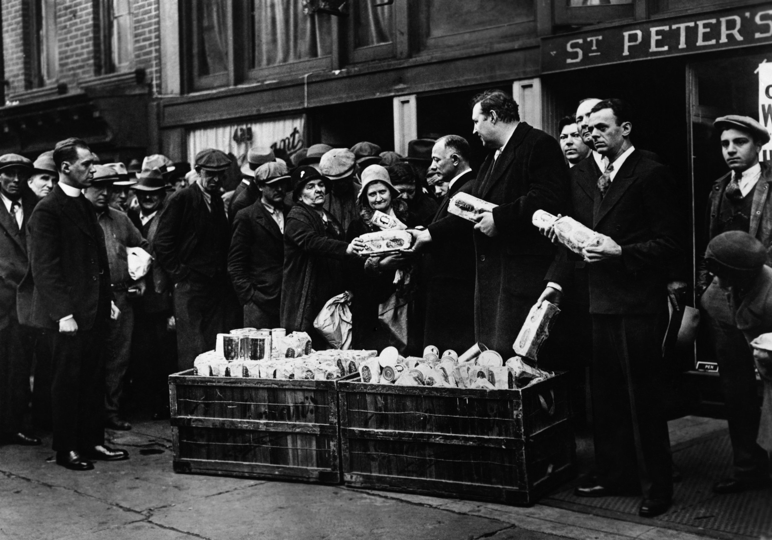 The bread and soup lines of the Great Depression.