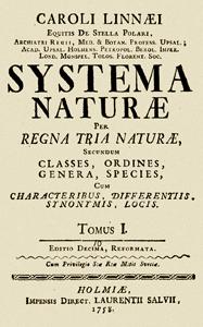 Carl Linnaeus' book,  Systema Naturae, 1767