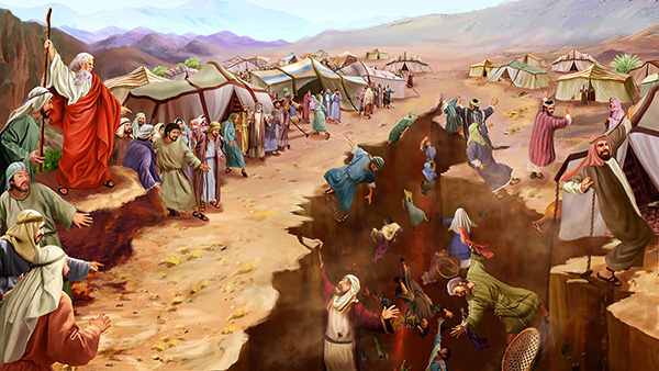 The divine judgment of the rebellion of Korah against Moses.