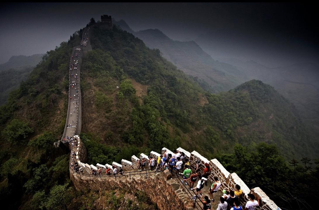 The Great Wall Marathon  byr kun på oppover eller nedover