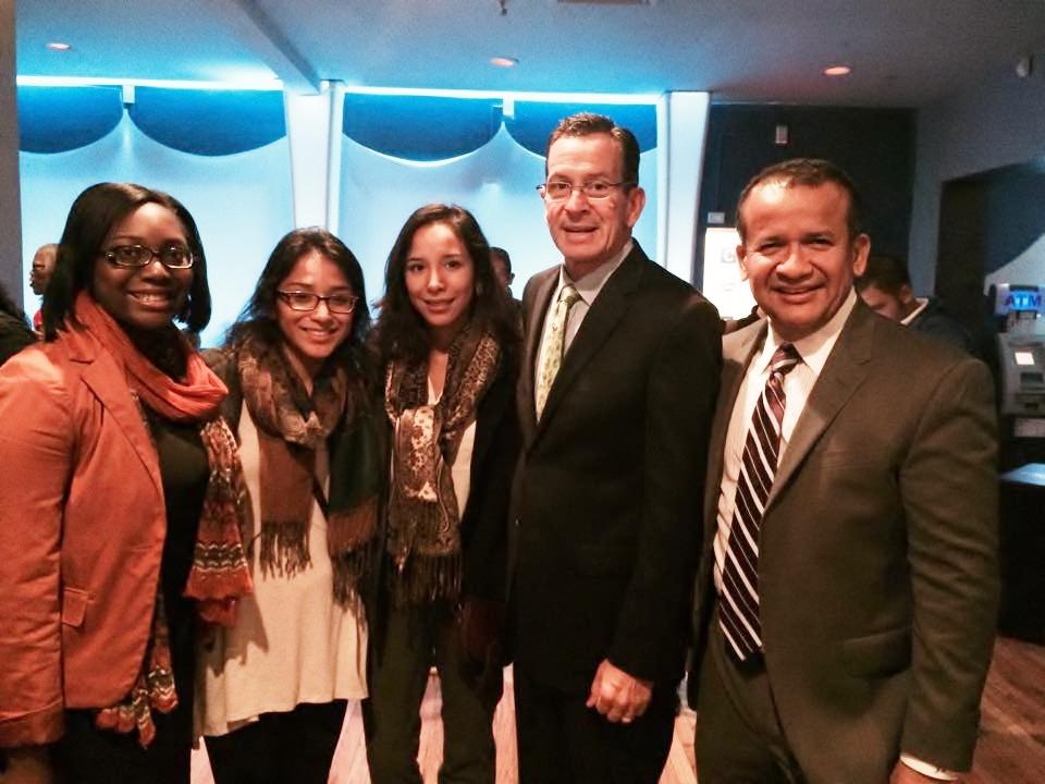 Miarah Jones, Margaret Reategui, Jessica Reategui, Gov. Dan Malloy and CEO of Rego Realty Jose Reategui
