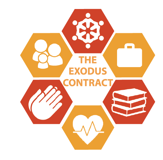 Six individual images are shaped into a hexagon. Each one makes up a different element of our contract.