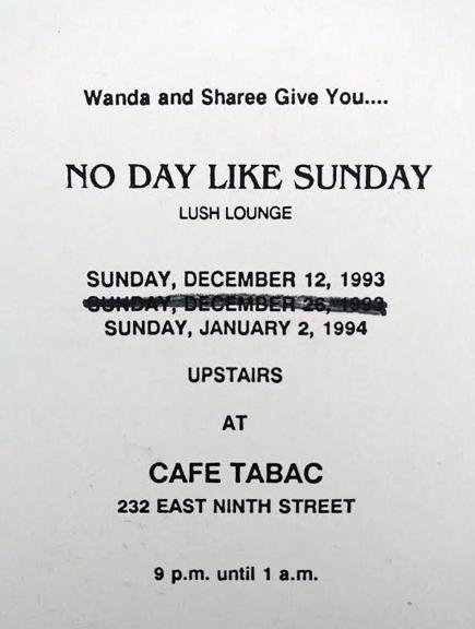 """No Day Like Sunday handmade invite for Sundays at Cafe Tabac party, strike through on Sunday, Dec 20th because restaurant booked a holiday party!"" - Wanda Acosta, 2018. Image courtesy of Wanda Acosta."