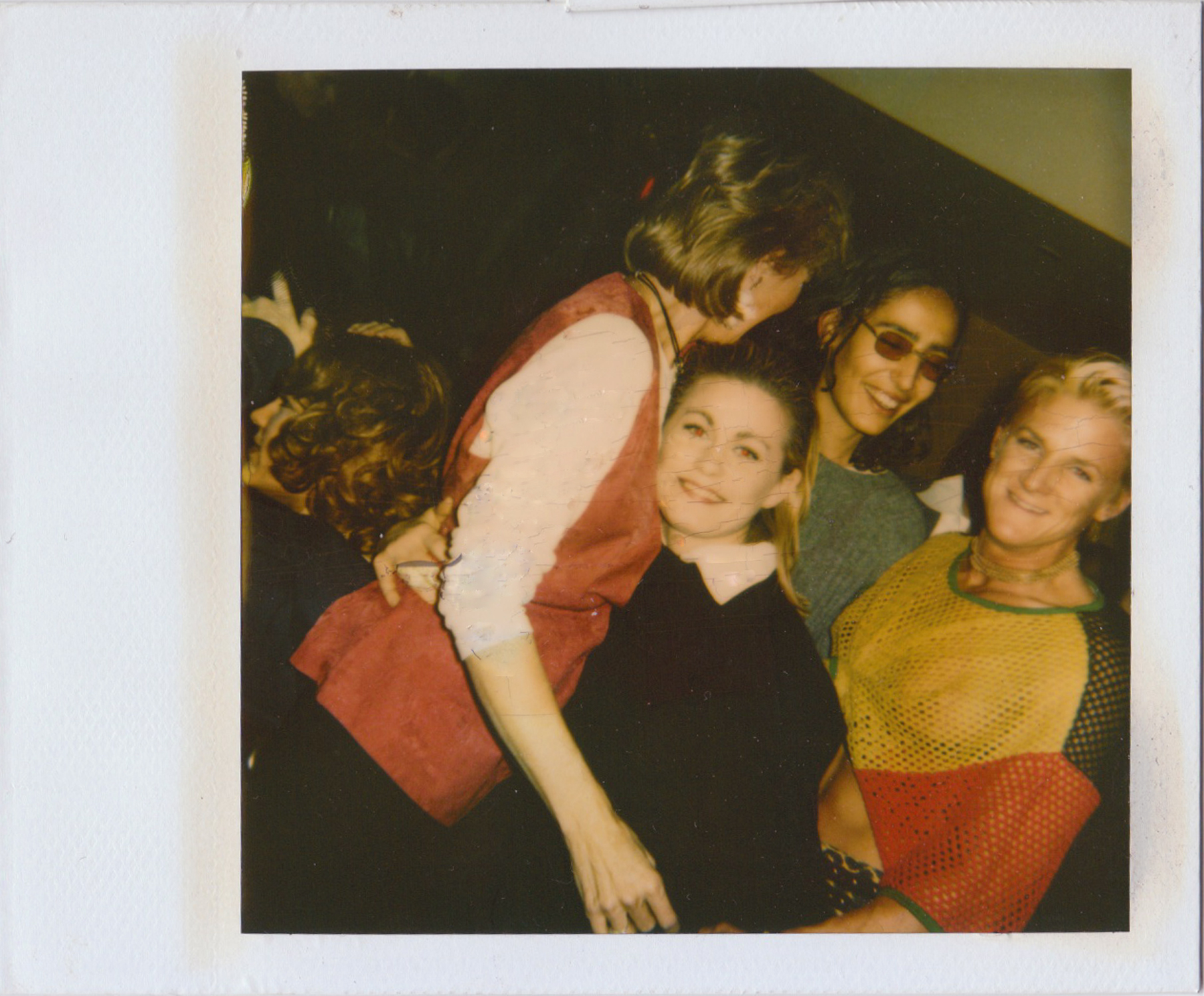 """""""Sundays at Cafe Tabac guests. The woman in sunglasses, Voula Duval, was also a party promoter and the blond, with the mesh top, was a body builder!"""" - Wanda Acosta, 2018. Image courtesy of Wanda Acosta."""