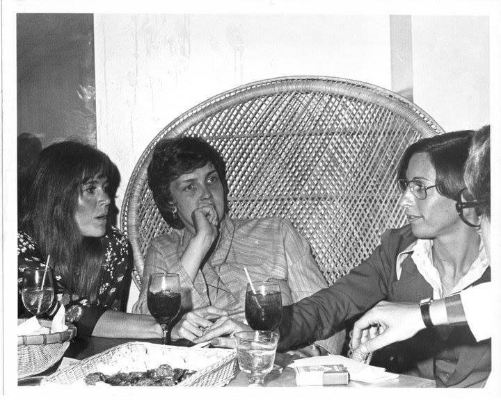 """""""Jane Fonda, Elaine Noble & Alix Kucker the night of the Elaine Noble benefit at Sahara."""" - Leslie Cohen, 2018. Image courtesy of Leslie Cohen."""