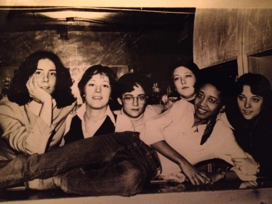 """Some of our fantastic staff at the upstairs bar. What a great family we were! With Diane Greenspan and Sharon White."""" - Leslie Cohen, 2018. Image courtesy of Leslie Cohen."""