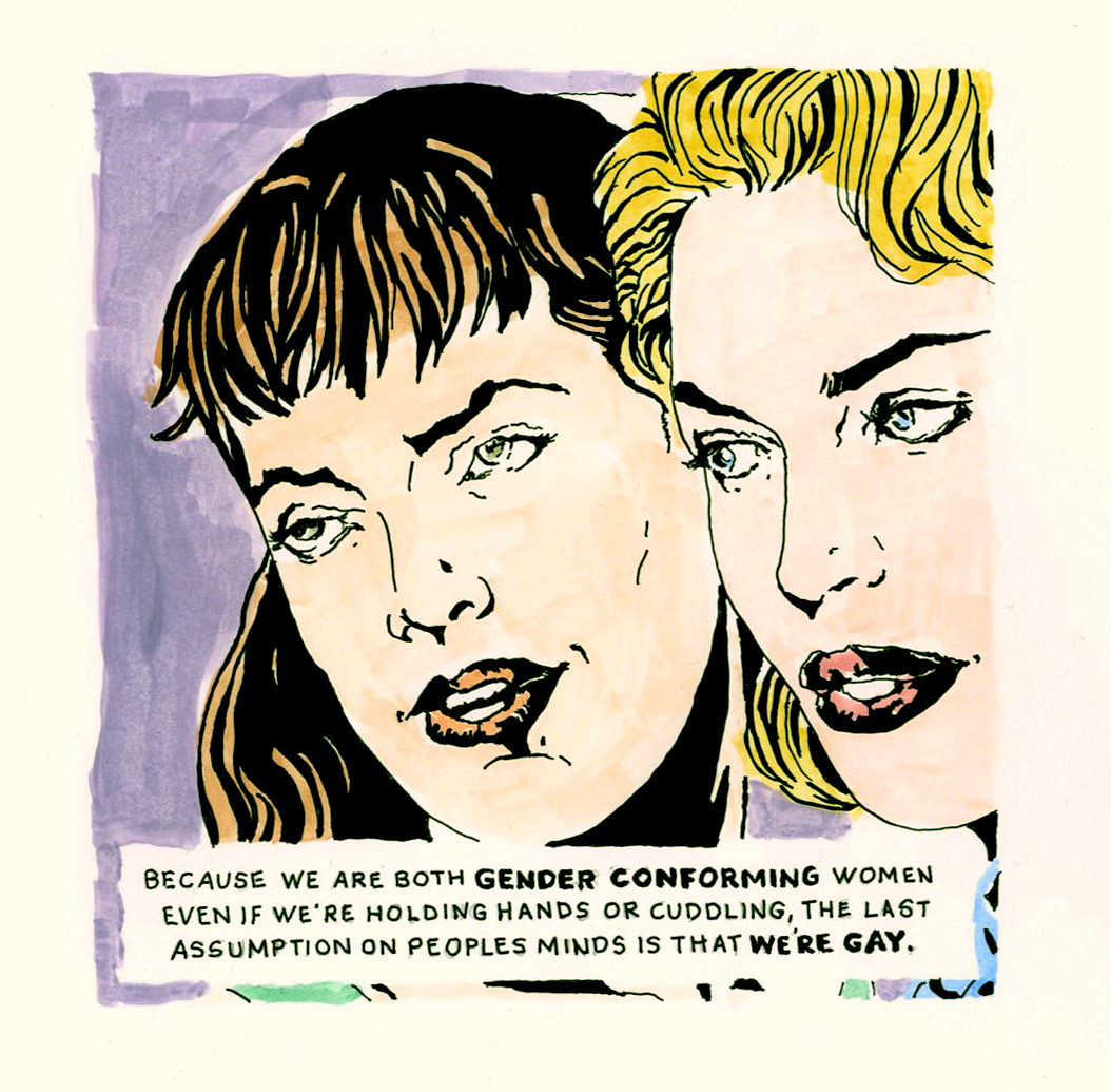 """I also am very concerned with ""gender conforming"" issues. The need for labels like ""cisgender"" is offensive to me. I risked my life to march for all gender variants..butch, femme, drag, you name it I'm for it. BUT, lately I draw the line on all these new labels. I am queer. That is how I see myself. QUEER! If we are not straight, then we are QUEER. Just my two cents. Tired of seeing the community labeled and divided."" - Michela, 2019. Image courtesy of Michela Griffo."