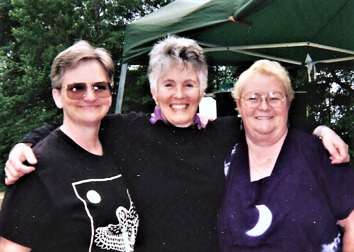 Wanda and Brenda Henson (left to right) and Sandy in the middle at Camp Sister Spirit. Image courtesy of Sandy Rapp.