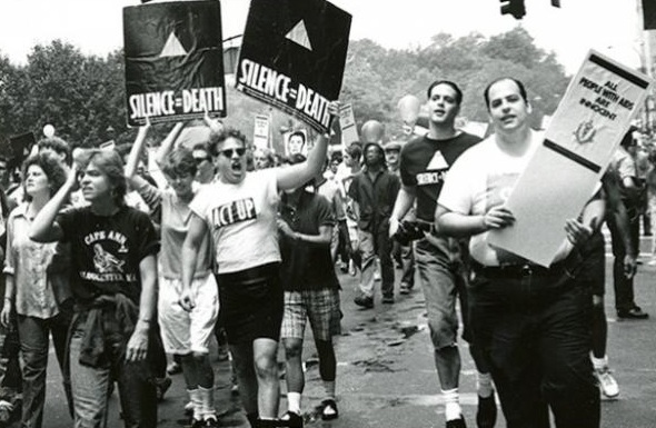 Eugene Gordon,  ACT UP activists at Pride March , 1988. New-York Historical Society Library