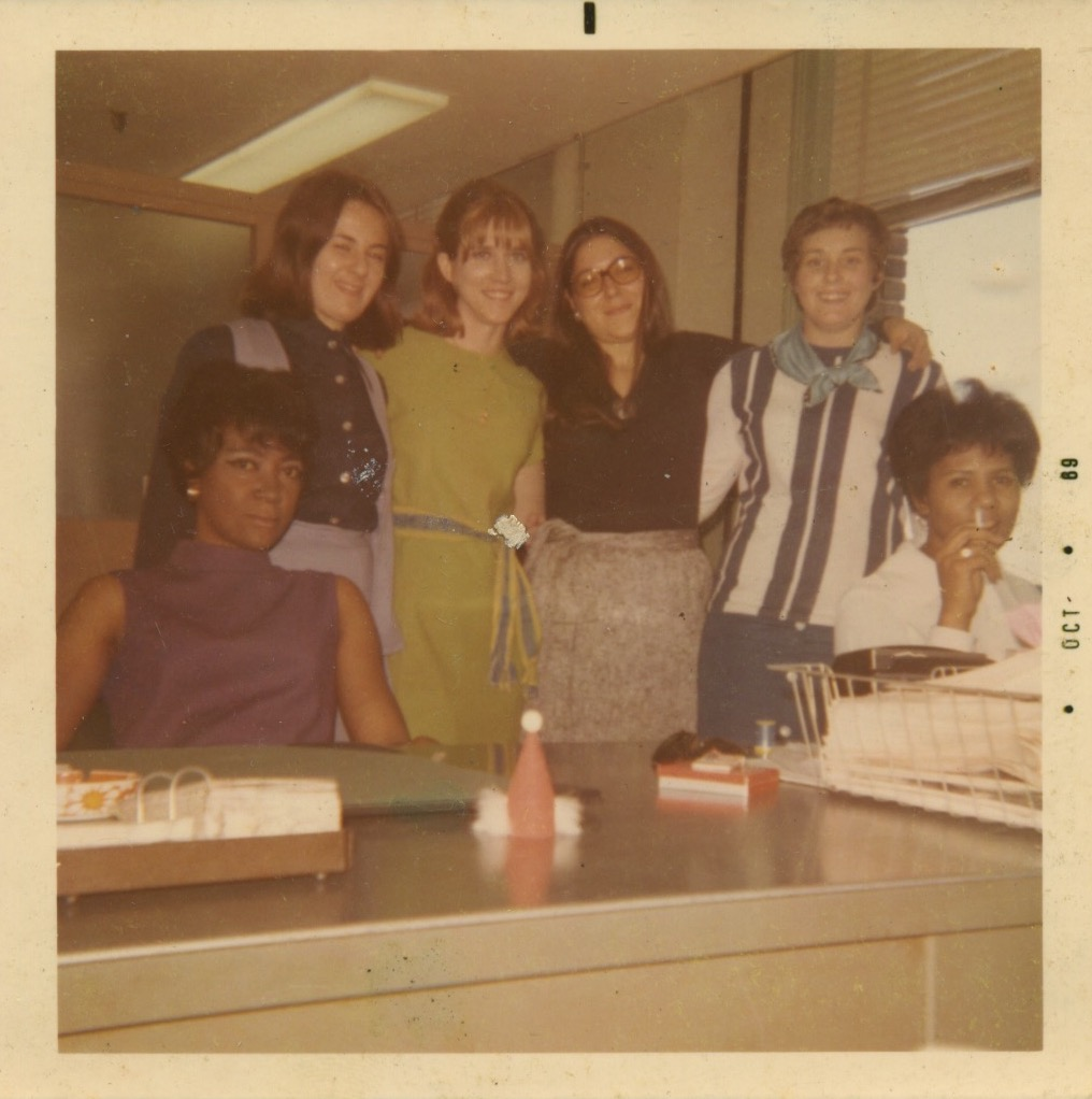 Officemates at the Department of. Welfare at 110 Willoughby Place in 1968. Image courtesy of Lee Zevy.