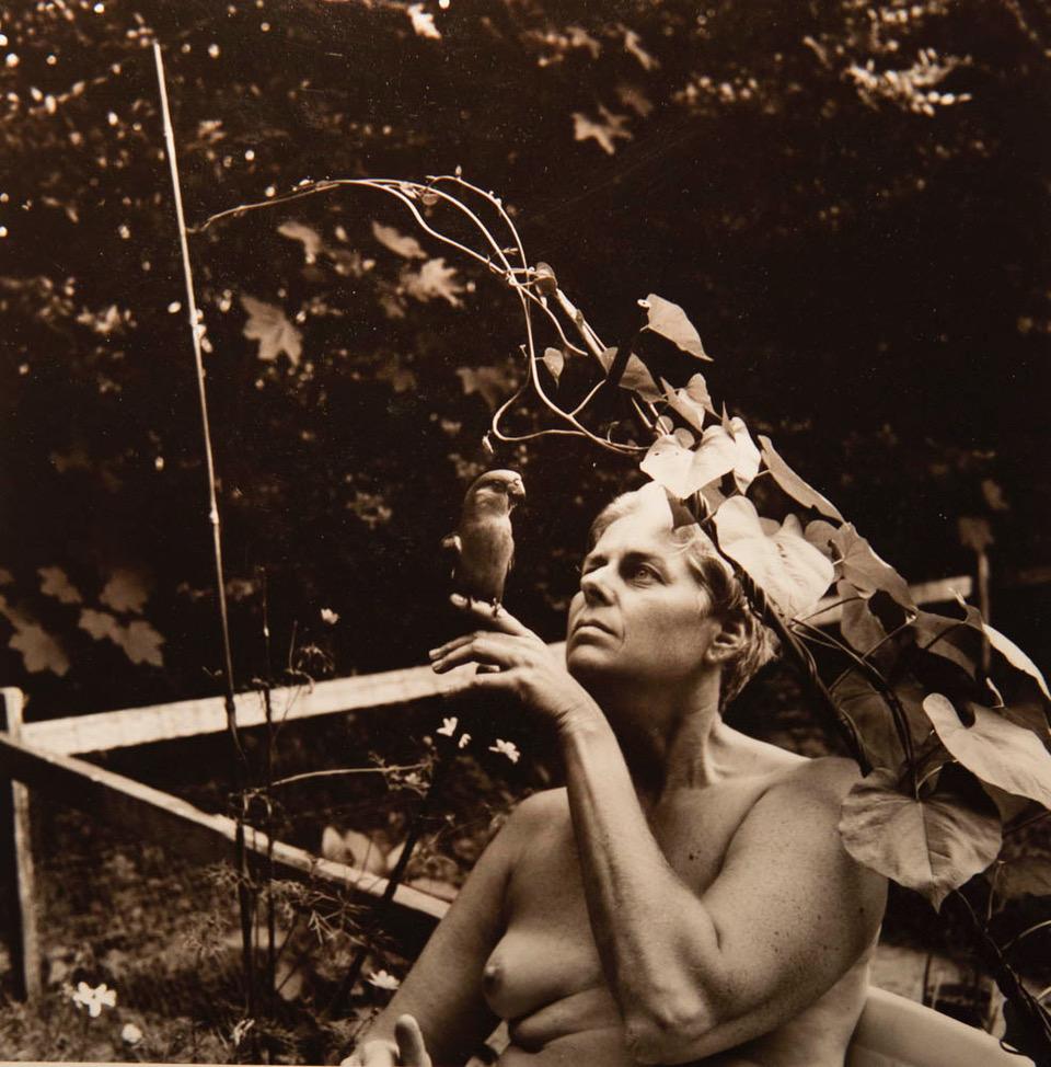 Self-Portrait with Lulu, My Senegal Parrot, Southhampton, NY 1997. Image courtesy of Joyce Culver.
