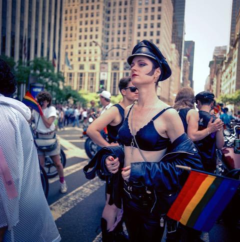 Gay Pride Motorcycle Woman, NYC 1989. Image courtesy of Joyce Culver.