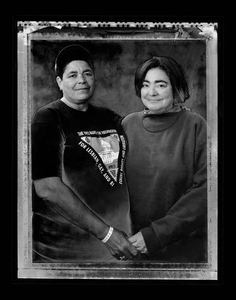 The Two Sandras (Sandra Goings and Sandra Monroe) Michigan Womyn's Festival, 1994. Image courtesy of Joyce Culver.