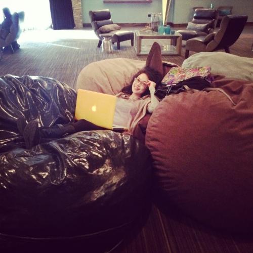 Yeah I work on bean bags. Cuz I'm a baller. #bosslady (c) 2014 Sophia Chang