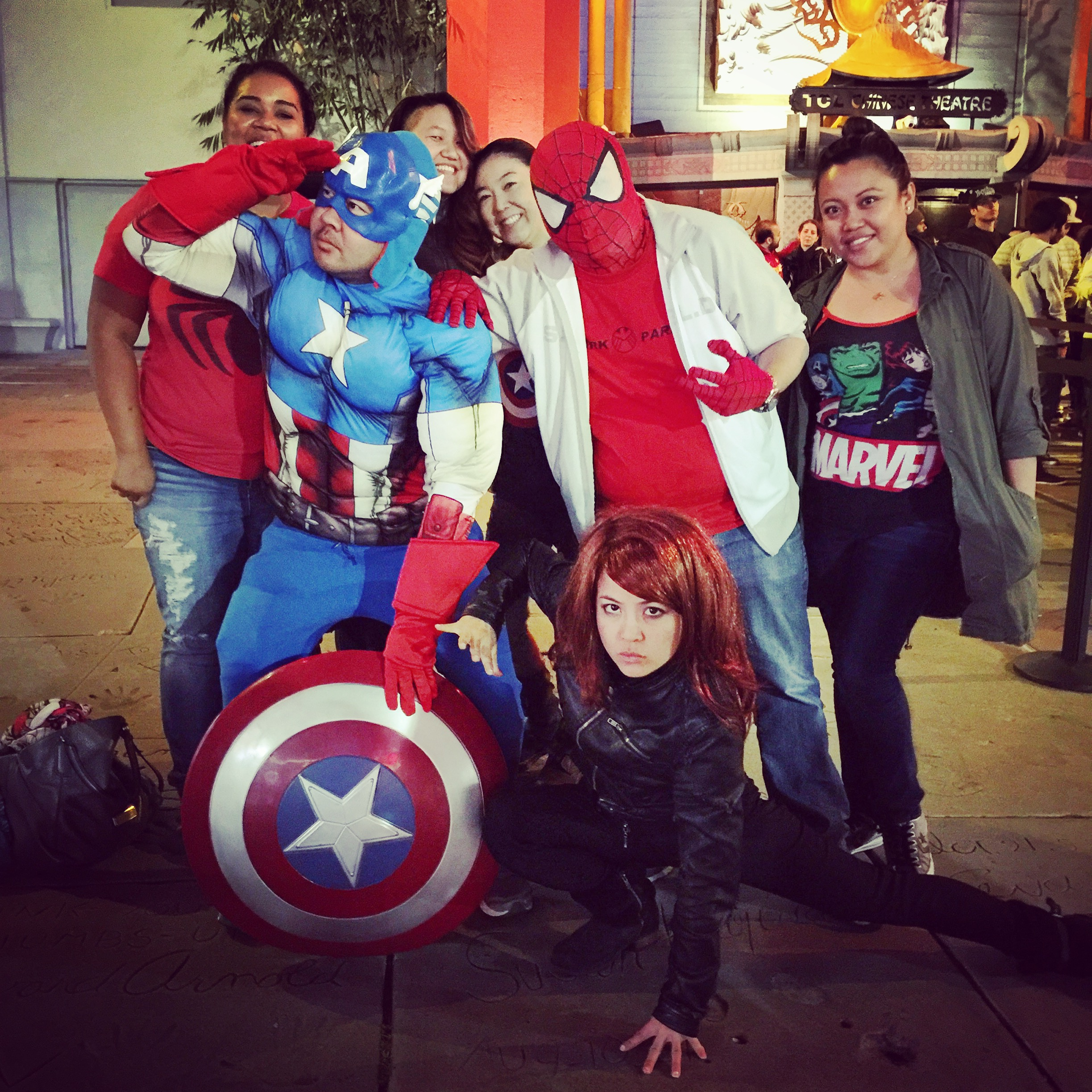 Captain Asian America, Yellow Widow, and Spider Pinoy at the MARVEL Avengers premiere. I rode the gold line like this and nobody batted an eye.