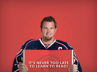 """TIME WARNER CABLE   """"Adult Literacy – Columbus Blue Jackets"""""""