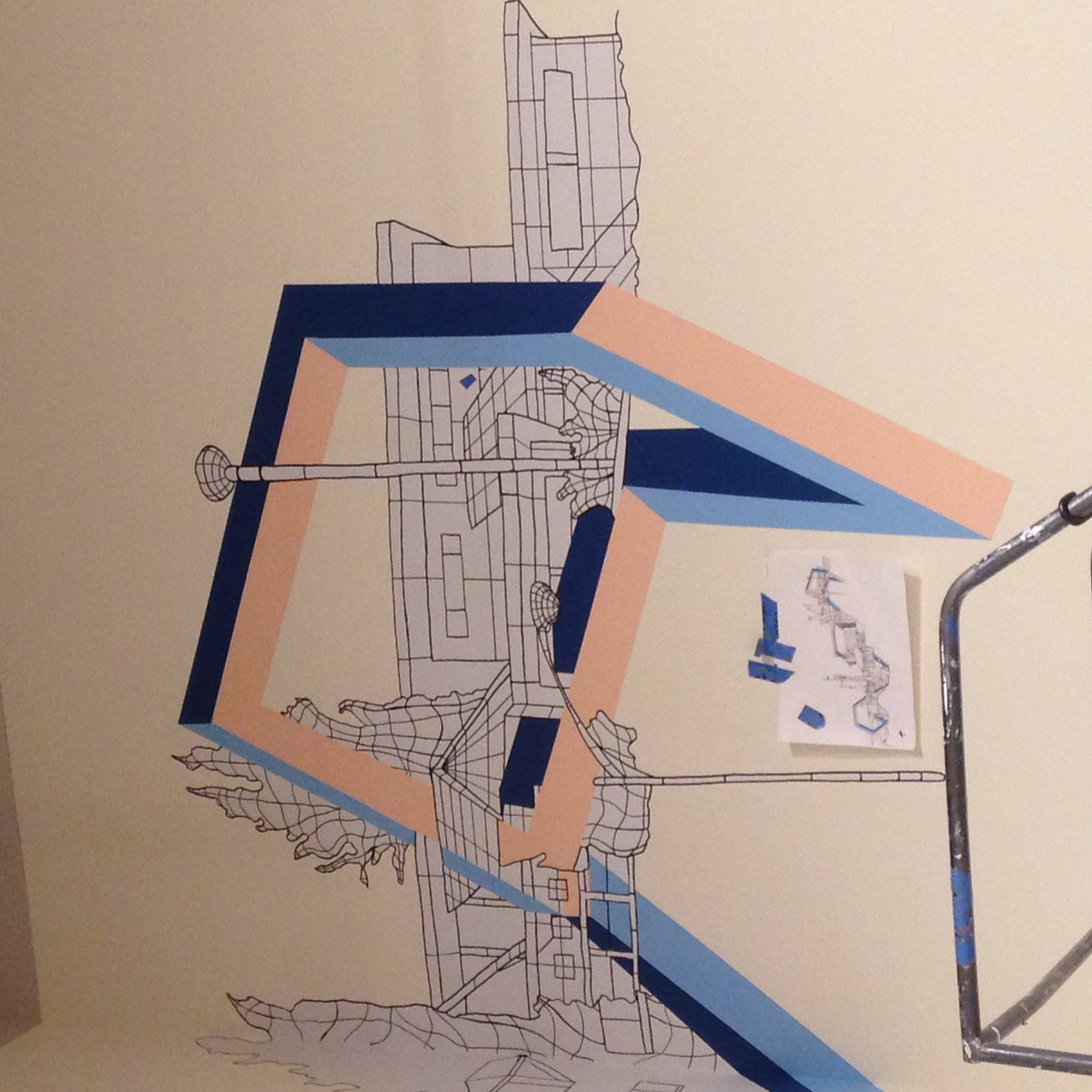 detail of wireframe going in