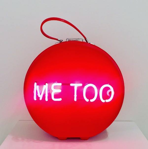 "Michele Pred,  #MeToo , 2017, Neon on Vintage Case, 16"" x 16"" x 8"", Courtesy the Nancy Hoffman Gallery."