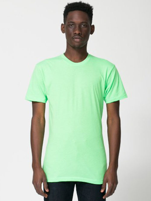 BB401 / AMERICAN APPAREL POLY COTTON TEE   3.7 oz. 50% Polyester / 50% Combed-Cotton Durable rib neckband Fits slimmer than the 2001     COLOR OPTIONS