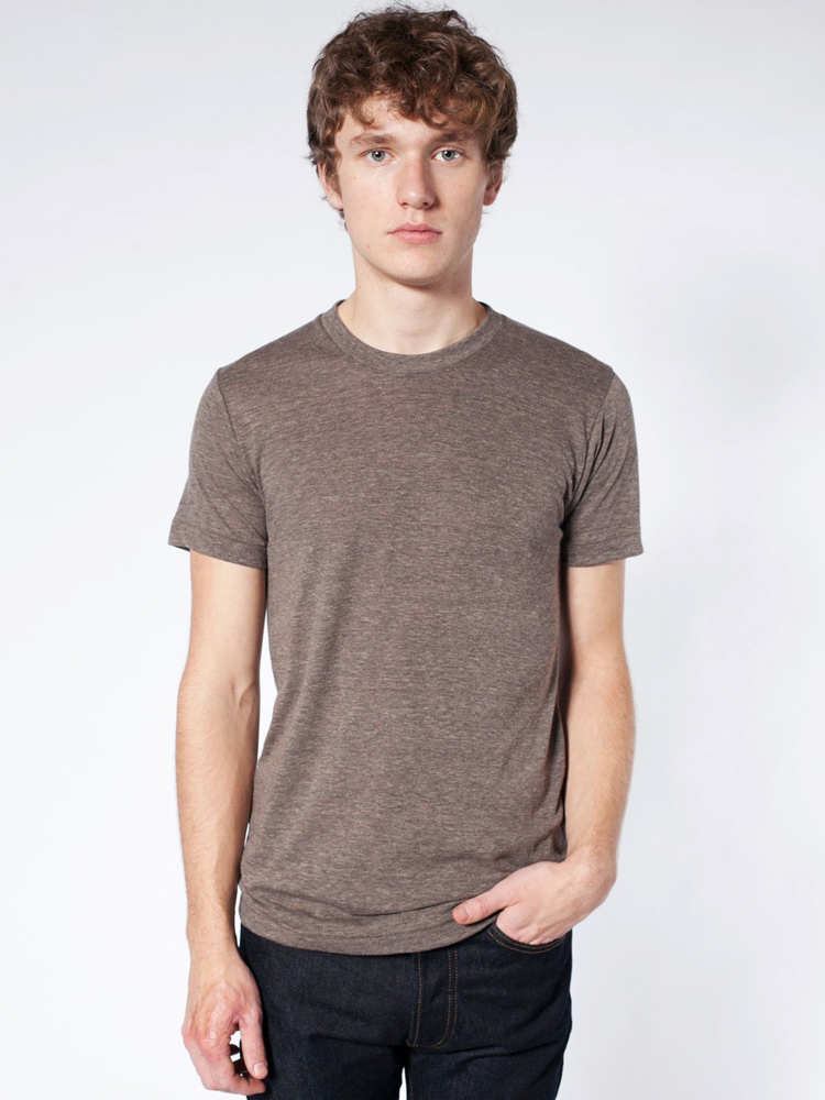 TR401 / AMERICAN APPAREL TR-BLEND TEE   3.7 oz. 50% polyester / 25% cotton / 25% rayon Fits slimmer than the 2001 Polyester retains the shape and elasticity; Cotton lends both comfort and durability; Addition of Rayon makes for a uniqie texture and drapes against the body for a slimming look.       COLOR OPTIONS