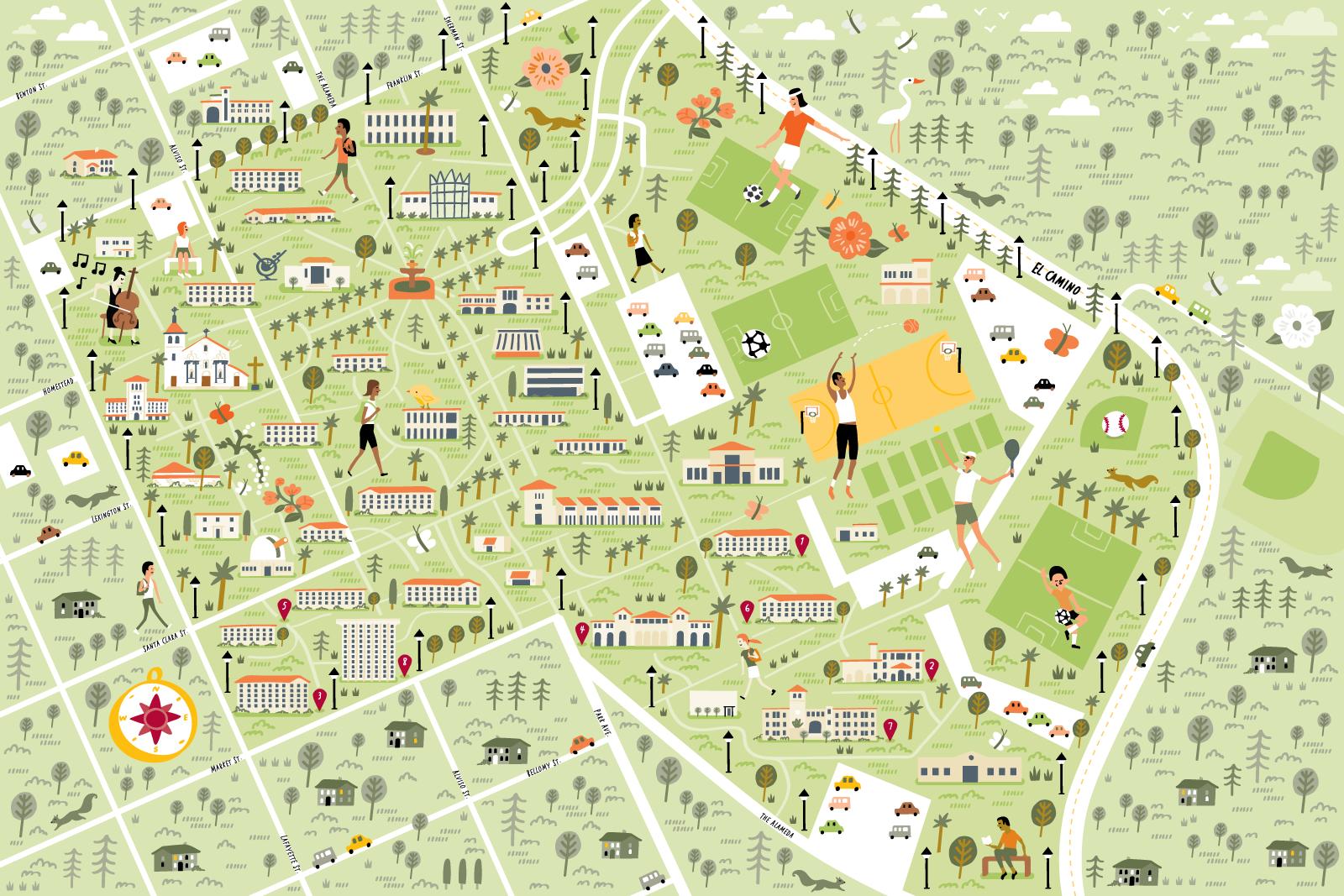 Illustrated campus map of Santa Clara University by Nate Padavick
