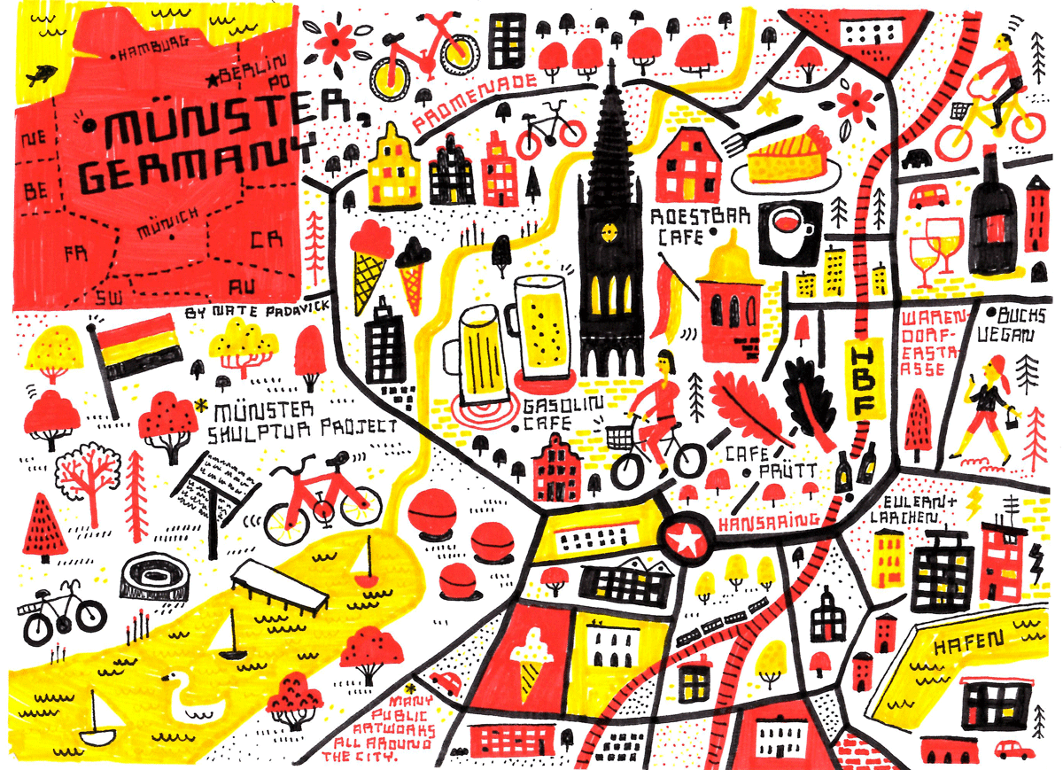 My Sketchbook - Map location: Münster, Germany