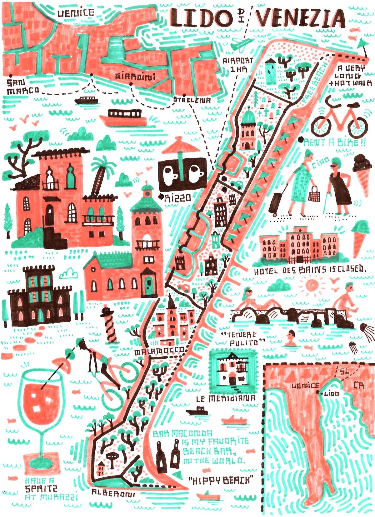 My Sketchbook - Map location: Lido di Venezia, Italy