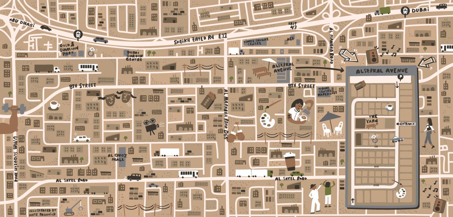 Illustrated Map of Al Quoz Dubai