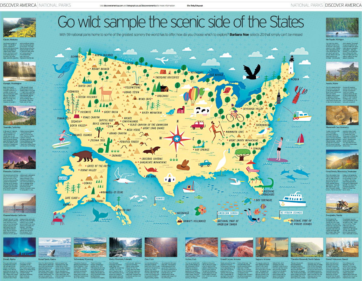 Illustrated Map of US National Parks — Nate Padavick