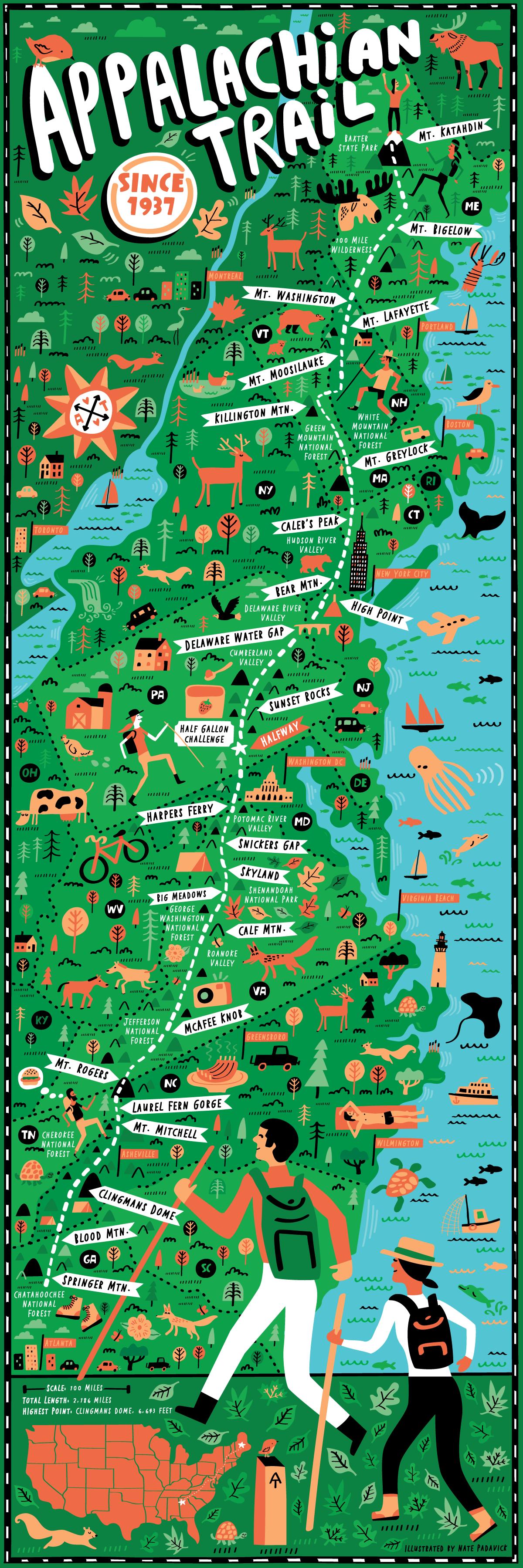 Appalachian Trail map illustrated by Nate Padavick