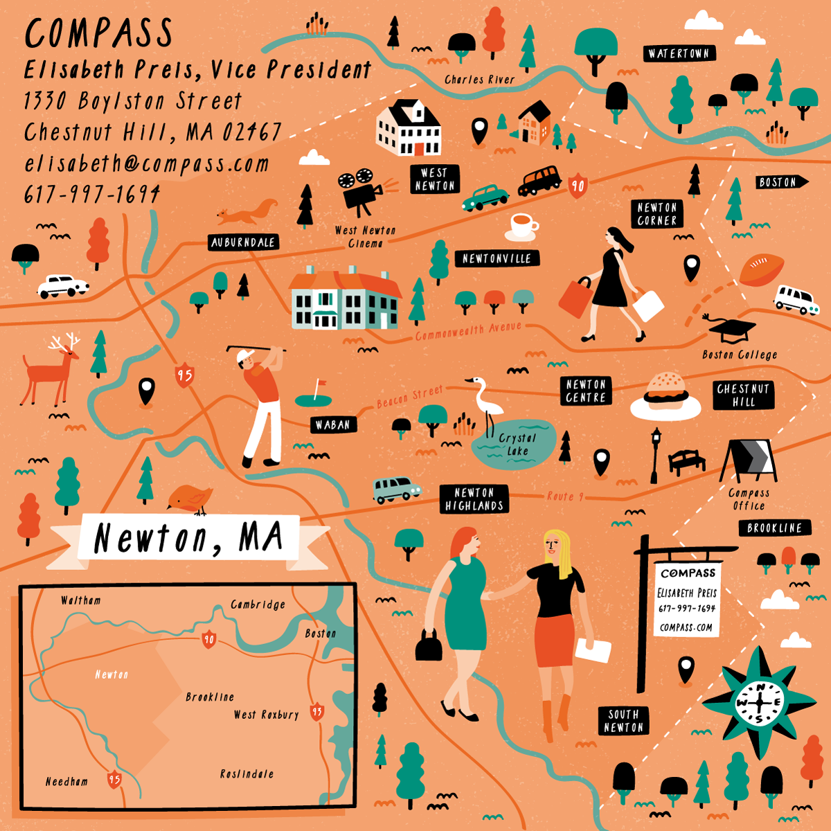 Illustrated map of Newton, Massachusetts by Nate Padavick